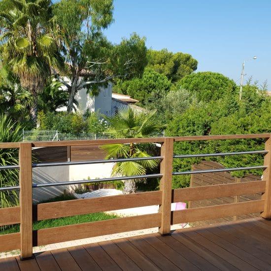 Extension Terrasse et gardes corps en bois