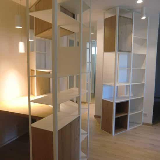 Rénovation, Bureau et bibliothèque sur mesure