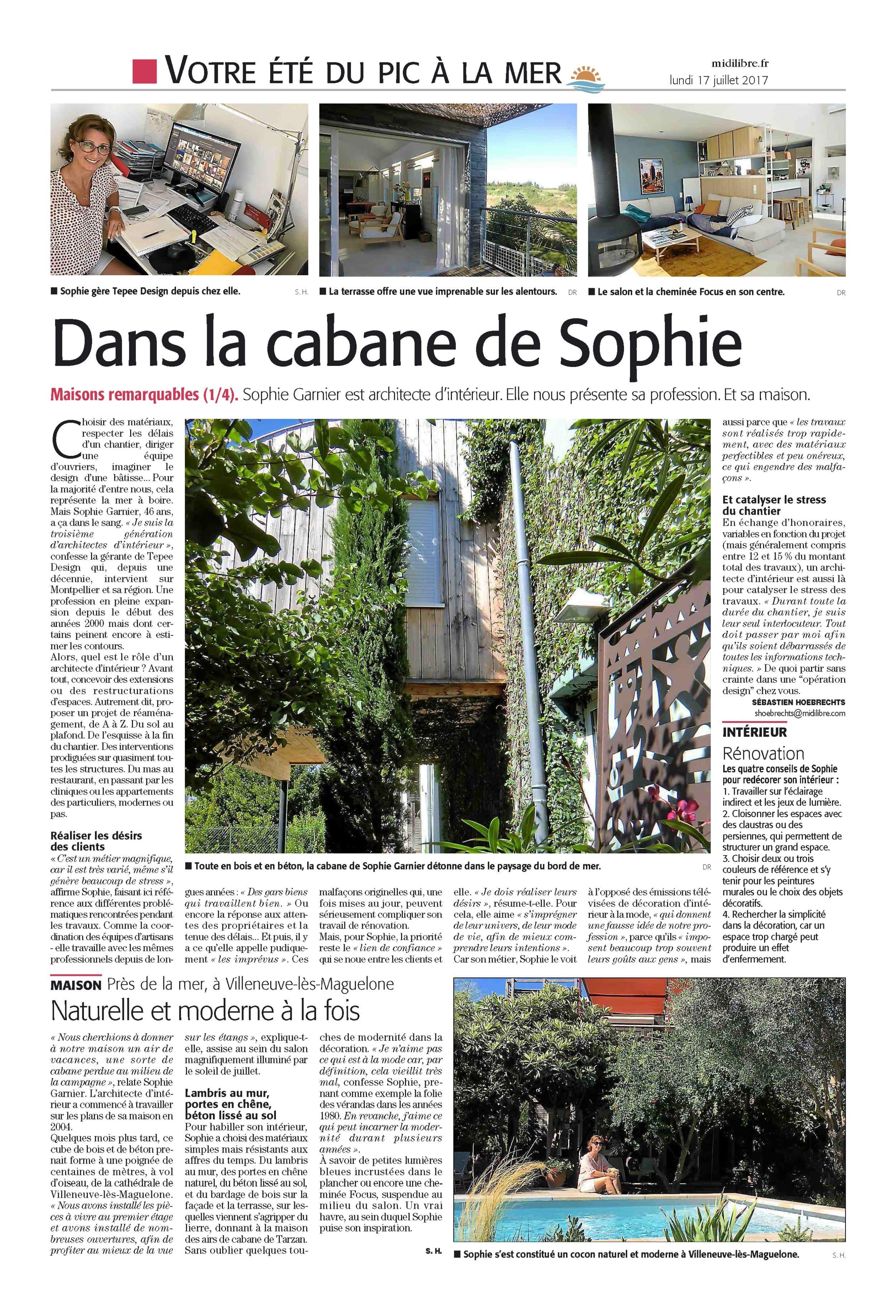 Midi Libre Montpellier : Dans la Cabane de Sophie