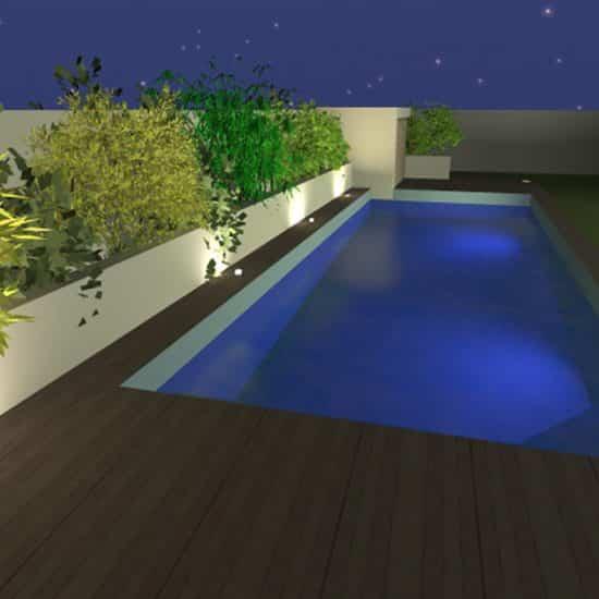 Simulation 3D d'extérieur avec piscine